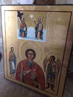 20th century ortodox russian icon of  Holy Trinity and archangel Mikhail hand painted