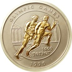 Mongolia - 1000 tugrik 1996 Atlanta Olympic Games, antique, runner - silver and gold