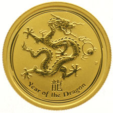 "Australia – 25 Dollars 2012 ""Year of the Dragon"" – ¼ oz of gold"