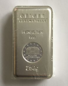 "Germany: 250 g silver bar, ""Geiger - Security Line"", Güldengossa Castle"