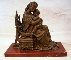 "Patinated bronze statue on marble foot ""Sitting Mary with child"""