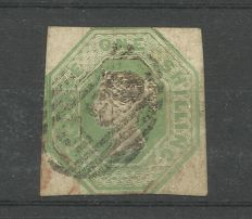 Great Britain 1847 - Queen Vitoria one shilling green embossed
