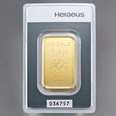 Heraeus 20 grams 999 gold bullion in blister - with certificate and serial number