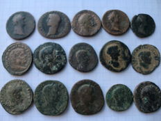 Roman Empire – Lot of 15 ases and sestertius from eight different emperors (Augustus, Germanicus, Trajan, Antoninus, Marcus Aurelius, Gordian, Severus Alexander, Maximianus)