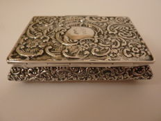 English antique silver snuff box, Chester, 1896