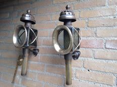 Two beautiful old coach lamps /boat lamps in copper/brass - 20th century
