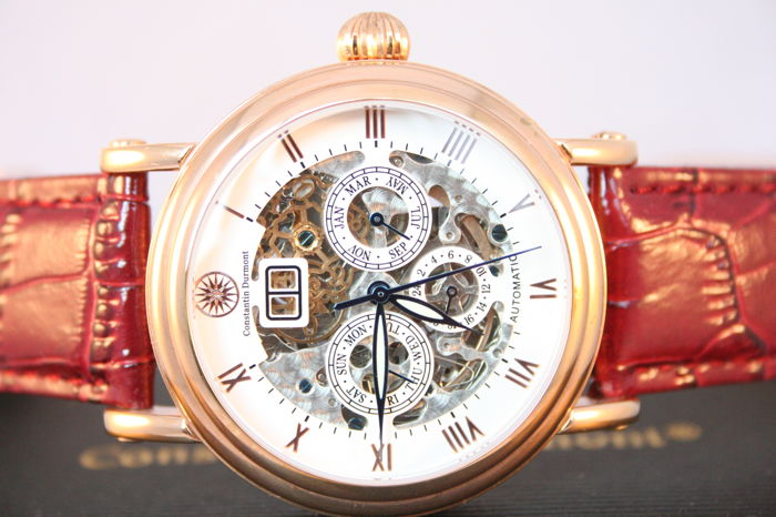 "Constantin Durmont Skeleton ""Rose Gold White"" -- Men's wristwatch."