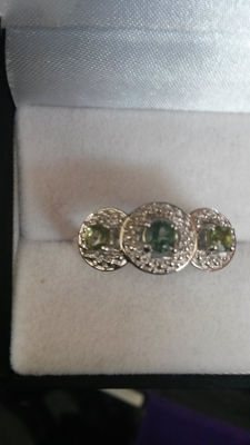 Genuine Mandrare Green Apatite Edwardian style Dress ring No Reserve