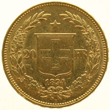 "Switzerland – 20 Francs 1894B ""Crowned Head"" – gold"