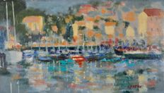 A Hepton. (20th century) - An impressionist harbourscape.