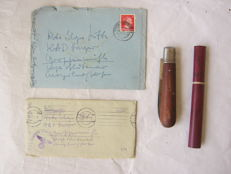 Set original german Werhmarht pocket knife,thermometer and letters WW2