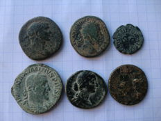 Roman Empire – Lot of 4 ases (Trajan, Marcus Aurelius, Faustina and Augustus), 1 sestertius from Maximianus and 1 quadrant from Claudius