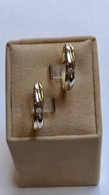 Set of 14 kt gold rings with brilliant cut diamond - Ring size 18 (57) and 19.5 (61)