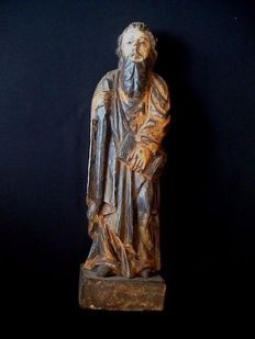 Portuguese colonial (Goa) polychrome wooden sculpture of a Saint - Apostle Paul - 18th/19th century