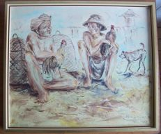 Painting (oil on linen) by M. Isrands, Scene in Village Square, Bali, Indonesia