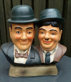 Earthenware sculpture of the famous duo Laurel and Hardy, 2nd half of 20th century