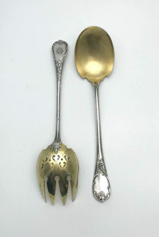 "Antique - Christofle ""Marly"" -  Salad & Vegetable serving tools - ca. 1935"