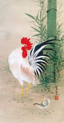 'Rooster and chick' detailed handpainted  scrollpainting, signed and sealed - Japan - first half 20th century