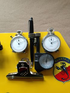 Lemania 1970s stopwatches - aluminium rally timing board - set with pen holder - curvimeter - lap counter