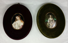 Pair of porcelain hand painted miniatures - signed - Italy - ca. 1930