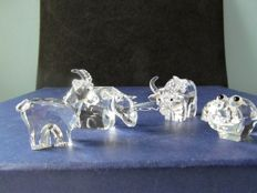 Swarovski - 4 animals - Hippo - Rhinoceros - Ox - Male goat
