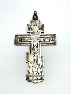 Julius Rappoport 1864-1916 (Faberge workmaster) - Tsar Nicholas II cipher - Orthodox Crucifix / pectoral silver cross - Russia - 1896