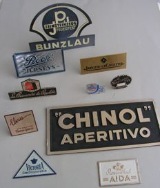 Collection of 10 advertising displays for shop counter/desk.