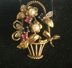 Brooch / pendant – basket of flowers with diamonds, rubies, sapphires and pearls in 333 / 8 kt gold, age: circa 1930, antique