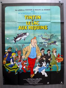 Tintin - Affiche officiel du film - grand format - Le lac aux Requins - EO - (1972)