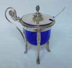 Antique French Empire sterling silver mustard pot, early 19th century (1809)