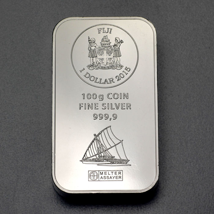 Fiji – 1 dollar 2015 coin bar 'Argor-Heraeus' with certificate & shrink-wrapped – 100 g silver