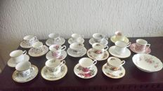 16 English cups and saucers and 1 Royal Albert dish