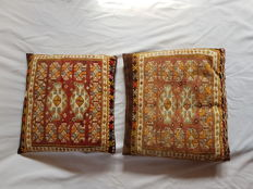 Soumak cushions, wool on wool, hand-knotted, 50 cm x 47 cm, early 20th century