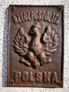 Unique Polish border sign, national emblem, cast iron, 1919