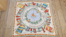 Hermès 'Prières au Vent' unusual scarf, designed by D. Rybalthcenko, in good condition. For collector.