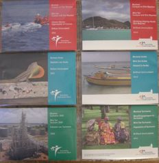 Aruba, Dutch Antilles and Suriname, six different year packs from 2010 to 2012.