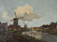 Christiaan Snijders (1881-1943) - A canal landscape with windmills