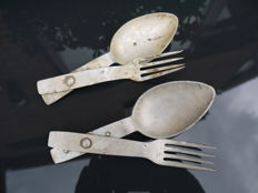 Two sets German folding cutlery 1938/1939.