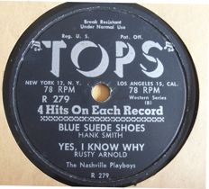 """Special 78 rpm records on the American label """"TOPS"""" with songs by Elvis Presley/Chuck Berry/Buddy Holly/Fats Domino/Bill Haley/Buddy Knox and others."""