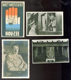 Propaganda; Lot with 4 postcards - 1 x Met Mussert Hou-Zee (NSB) + 3 x  photo postcards of Adolf Hitler / Der Führer - 1940s.