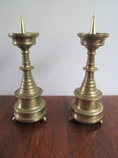 Two antique brass candlesticks-Southern Netherlands-Ca. 1800