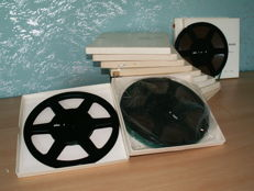 Professional 22 cm Hi-fi tape recorder reels: BRAUN TB 1025; 12 with tape, 1 empty reel.