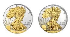 USA - 2 x $1 American Silver Eagle 2016 + 2017 999 Silver Coin with 24 karat Gold Plating