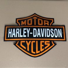 Large enamel sign - Harley-Davidson Motor Cycles - cut out convex model - late 20th century