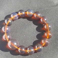 Blue Sumatra Amber fluorescent beaded bracelet, untreated 28.3 grams weight