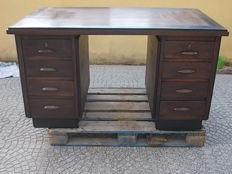 Walnut and fir wood desk with eight drawers - Italy - ca 1950
