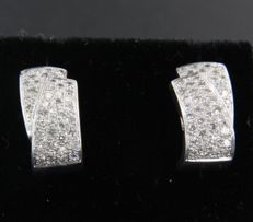 White gold 18 kt ear studs set with 84 single cut diamonds, approx. 0.70 carat in total ****NO RESERVE PRICE****