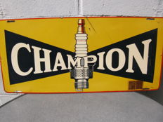 Champion spark plugs - Enamel sign Made in the USA - Dates back to the 1950s/60s.