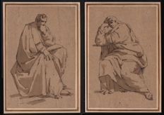 Anonymous - A pair of drawings with classical figures - Second half 19th century.