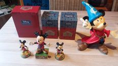 Disney, Walt - 4 Statuettes - Mickey Mouse - 3 x Showcase Collection + The Sorcerer's Apprentice (80 /90s)